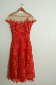 Red and Nude Lace Dress